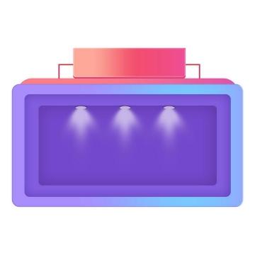 C4D风格立体紫色蓝色天猫淘宝京东电商产品展示橱窗图片免抠素材