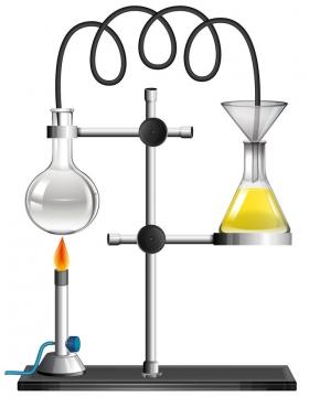 燃烧的酒精灯和烧瓶正在做化学实验的中学教学图片免抠矢量素材