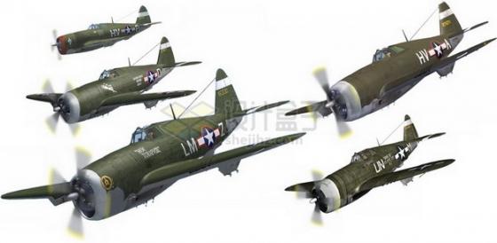 二战美国海军格鲁曼F6F地狱猫战斗机群png免抠图片素材