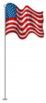 卡通飘扬的美国国旗星条旗图片免抠矢量图素材