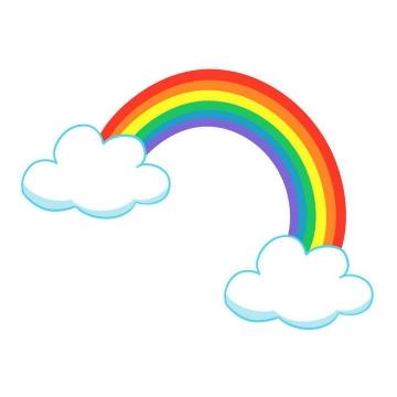 卡通风格两朵白云上的七彩虹图案图片免抠素材