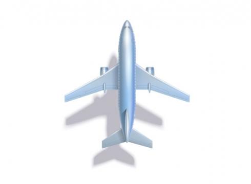 淡蓝色飞机大型客机带阴影俯视视角727889 png图片素材