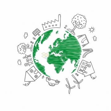 涂鸦绿色地球和线条城市建筑png图片素材