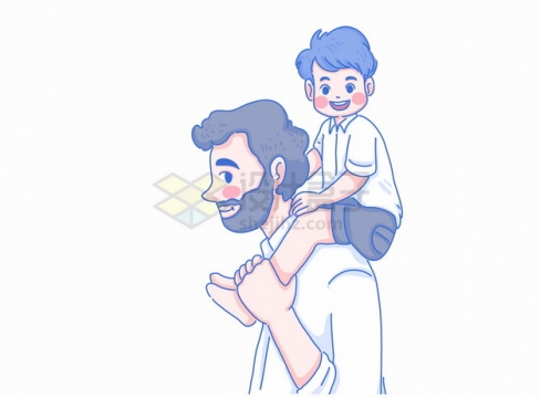 父亲节卡通儿子骑在爸爸脖子上亲子关系彩绘插画png图片素材