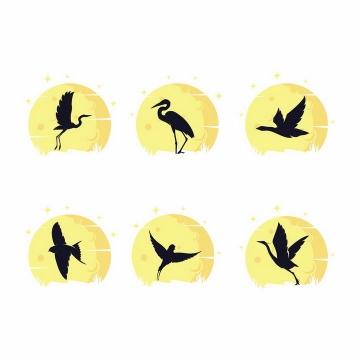 6款黄色月亮背景仙鹤大雁燕子等鸟类剪影png图片免抠矢量素材