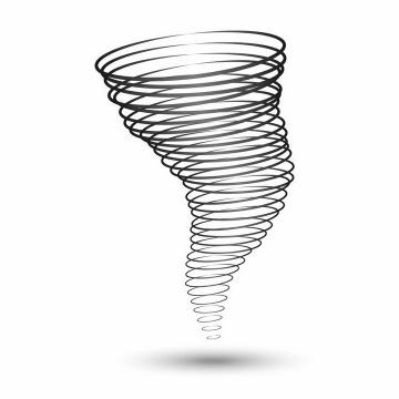 黑色圆环组成的龙卷风图案png图片免抠矢量素材