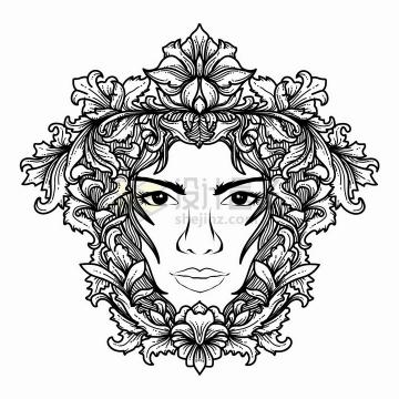 花朵叶子装饰的人脸带有抽象花纹黑色线条插画png图片免抠矢量素材