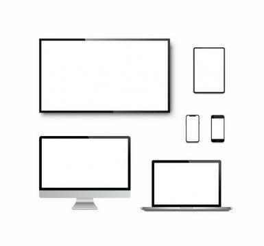黑色边框的电视机电脑显示器笔记本电脑平板和手机png图片免抠矢量素材
