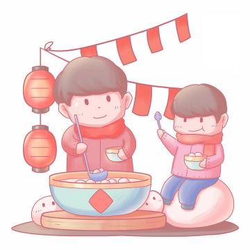 正月十五元宵节吃汤圆的卡通爸爸和儿子png图片免抠素材