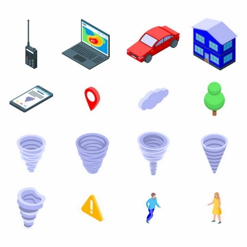 2.5D风格对讲机笔记本电脑汽车房子手机定位标志龙卷风等png图片免抠矢量素材