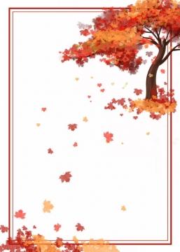 深秋时节变红的大树和落叶组成的边框700295png图片素材