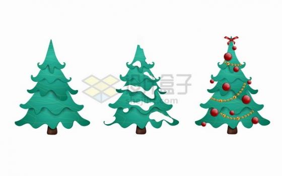 3款绿色的圣诞树雪松树png图片素材