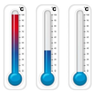 三种代表酷热正常和寒冷的温度计图片免抠矢量素材