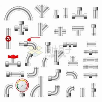 银灰色的管道水管组合件png图片素材