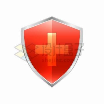 中间是红十字的红色盾牌医疗医学png图片免抠矢量素材