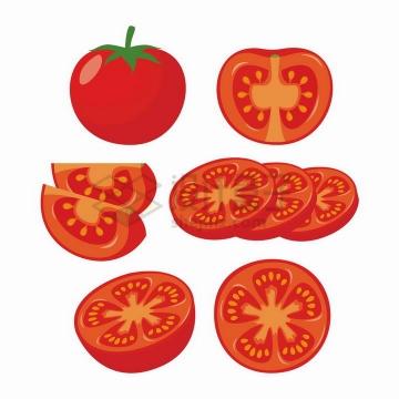 切开的西红柿番茄薄片美味蔬菜水果png图片免抠矢量素材