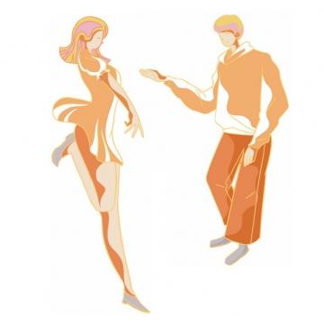 橙色斗舞的情侣手绘插画png图片素材