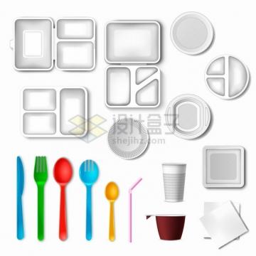 各种银灰色的餐盘和彩色勺子吸管等餐具png图片素材