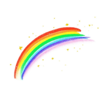 手绘涂鸦风格七彩虹黄色小星星图案图片免抠素材