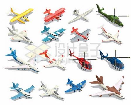 各种水上飞机双翼机客机直升机等2.5D风格飞机260263 png图片素材