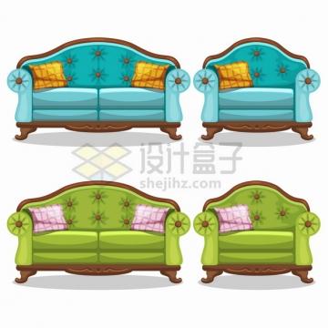 蓝色和绿色的卡通组合沙发png图片素材