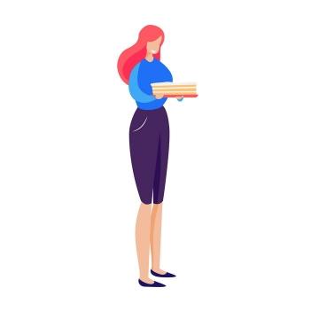 扁平插画风格红头发美女png图片免抠矢量素材
