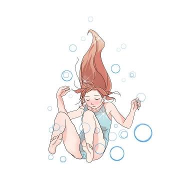 卡通漫画风格在水中的美少女泡泡图片免抠素材