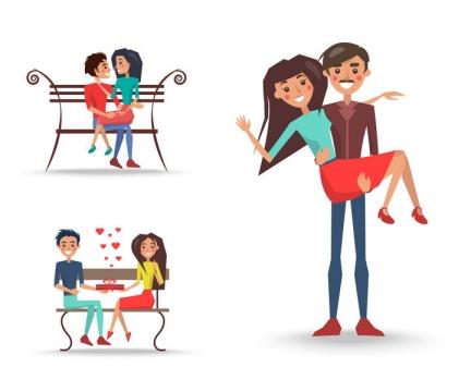 坐在长椅上和抱着女朋友的卡通情侣图片免抠矢量素材