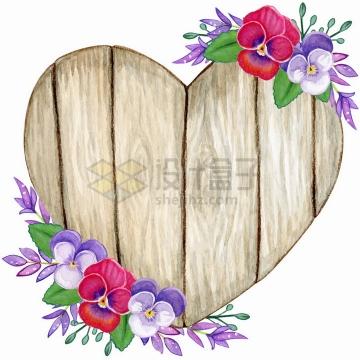 心形木板和三色堇蝴蝶兰花朵花卉装饰标题框水彩插画png图片免抠矢量素材