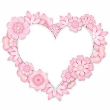 3D立体浮雕风格粉色花朵组成的心形文本框标题框信息框844937png图片素材
