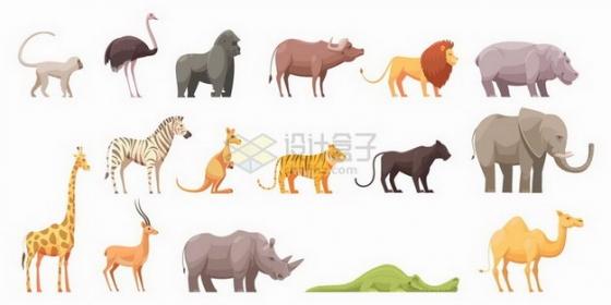 猴子鸵鸟大猩猩狮子河马斑马长颈鹿大象犀牛骆驼等野生动物png图片免抠矢量素材