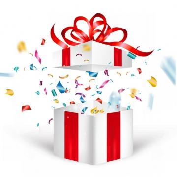 打开的礼物盒和飞出的彩色碎纸片撒花效果984831png图片素材