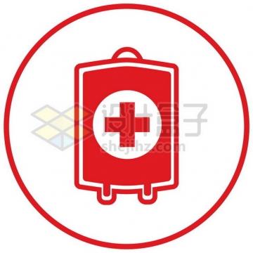 扁平化风格血袋无偿献血图标png图片素材