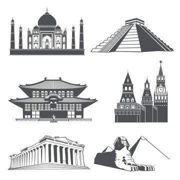 六款世界各地知名地标建筑剪影旅游设计素材图片