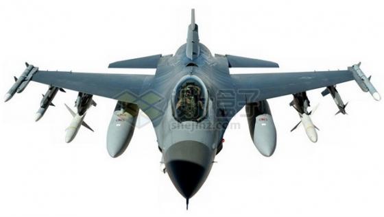 满挂载的F16战斗机前视图png免抠图片素材