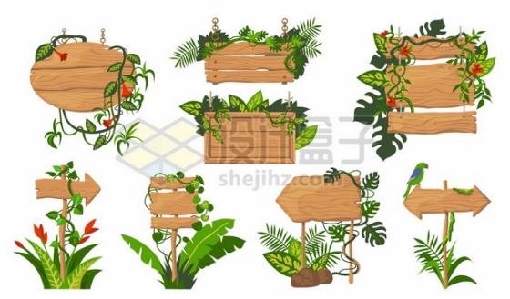 8款绿色藤蔓装饰的木头牌子451410png图片素材