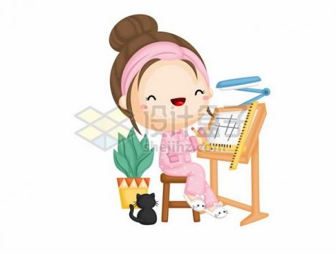 卡通女孩正在做设计468954png图片素材
