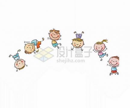 快乐翻滚的卡通孩子们六一儿童节插画png免抠图片素材