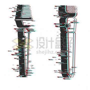 2款抖音故障风的话筒麦克风图案137030png矢量图片素材
