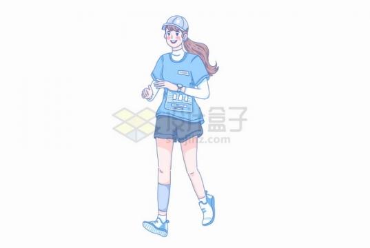 卡通马尾辫阳光女孩正在跑步彩绘插画png图片素材
