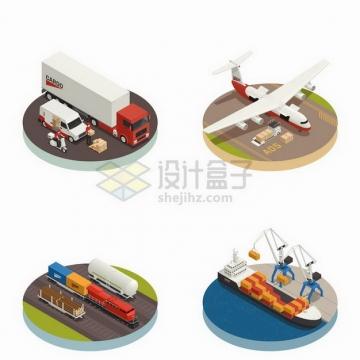 2.5D风格卡车飞机火车和港口码头轮船物流快递行业png图片免抠矢量素材