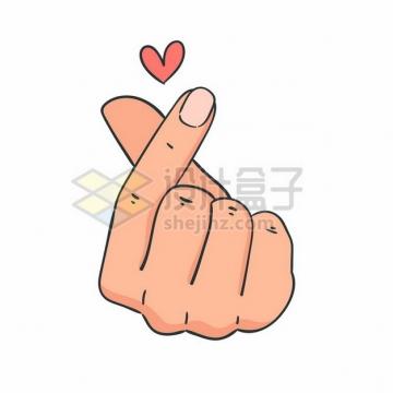 大拇指食指单手比心手势和红心图案手绘插画116130矢量图片免抠素材