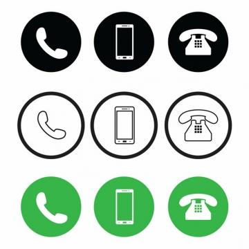 黑色白色绿色电话手机621349等矢量图标图片素材