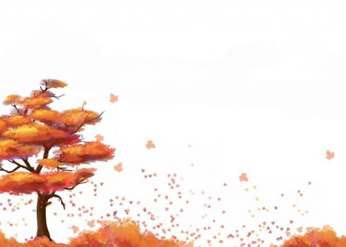 深秋时节变红的大树和飘落一地的树叶553880png图片素材