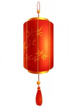 红色圆筒状的灯笼png图片免抠素材