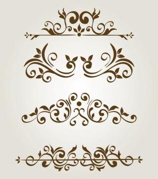 4款大气复古树叶欧式花纹装饰图片免抠矢量素材