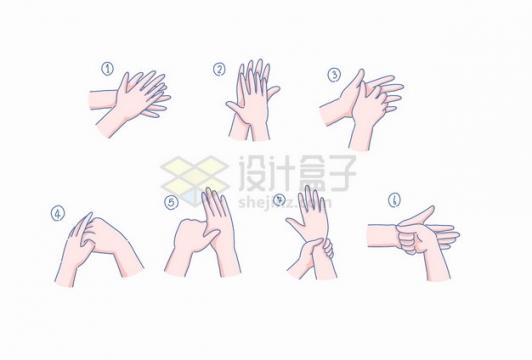 卡通洗手七步法示意图彩绘插画png图片素材