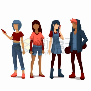 站在一起各忙各的年轻男孩女孩扁平插画png图片免抠矢量素材