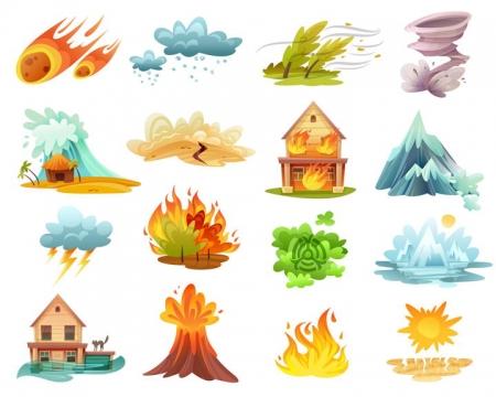 16款陨石飓风龙卷风海啸地震火灾火山喷发洪水等自然灾害图片免抠矢量素材