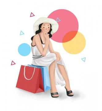 手绘风格正在休息的购物袋女孩图片免抠素材